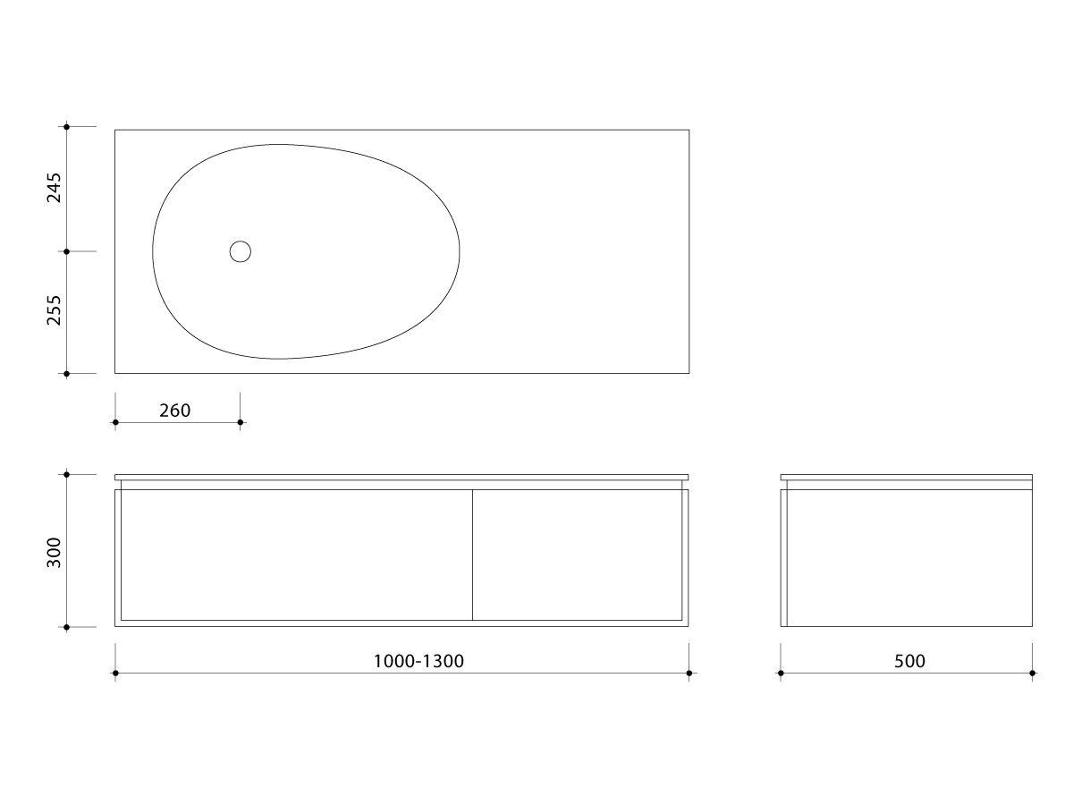 Issy Glide Wall Hung Vanity Unit Single Bowl 2 Drawer Custom 1000-1300mm Oak