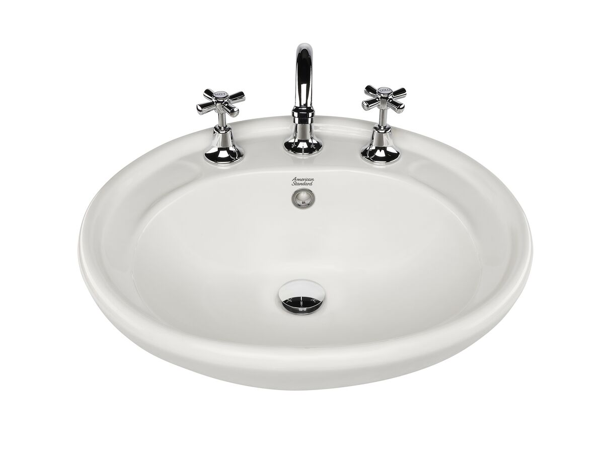 American Standard Heron Semi Recessed Basin with Fixing Kit 3 Taphole White