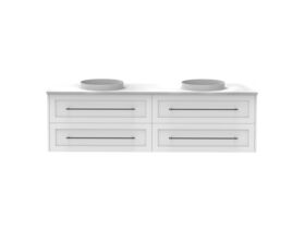 Kado Lux 800mm All Drawer Wall Hung Vanity Unit 4 Drawers Double Bowl Vanity (No Basin)