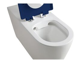 Wolfen 800 Back To Wall Toilet Pan with Single Flap Seat Blue (4 Star)