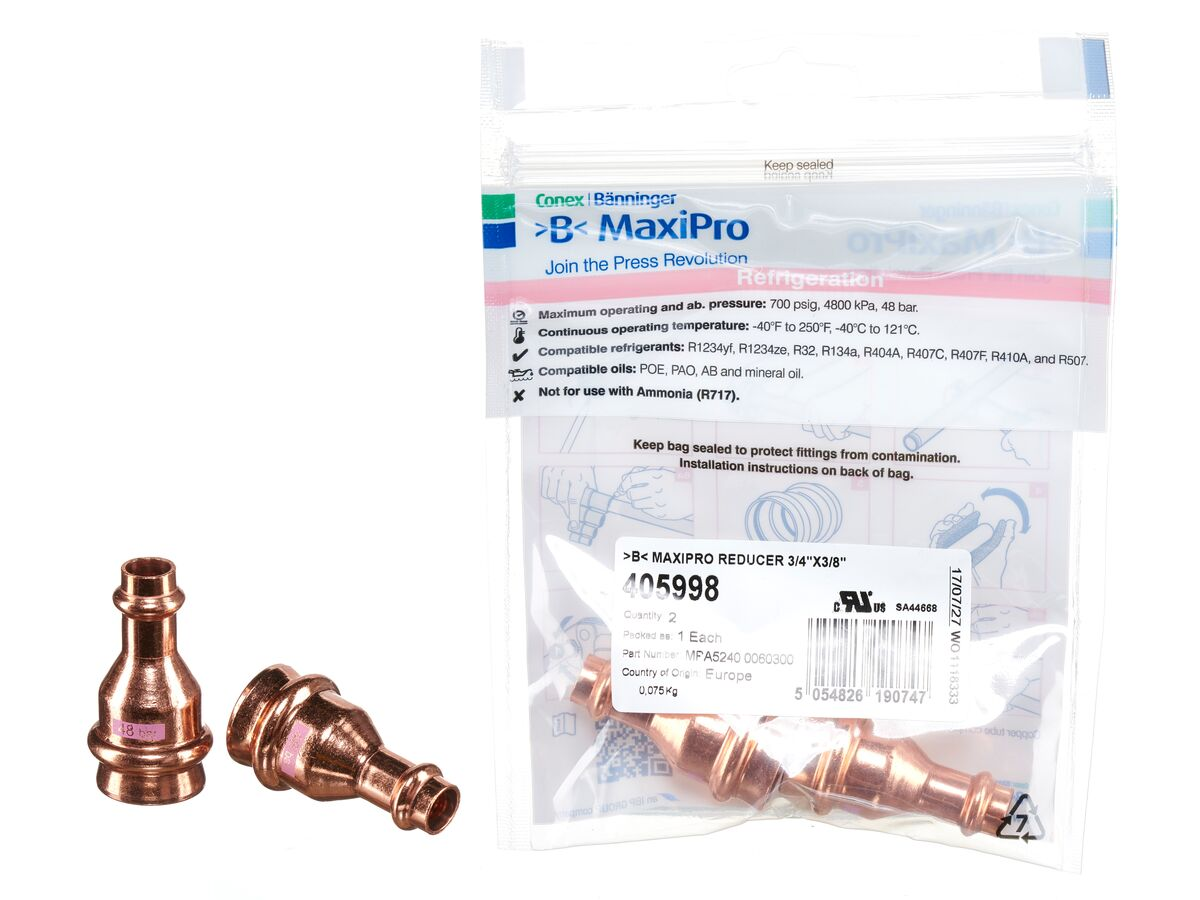 ">B< Maxipro Reducer 3/4"" x 3/8"""" Bag of 2"""