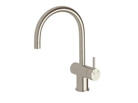 Scala Mini Sink Mixer Curved Large RH LUX PVD Brushed Oyster Nickel (5 Star)