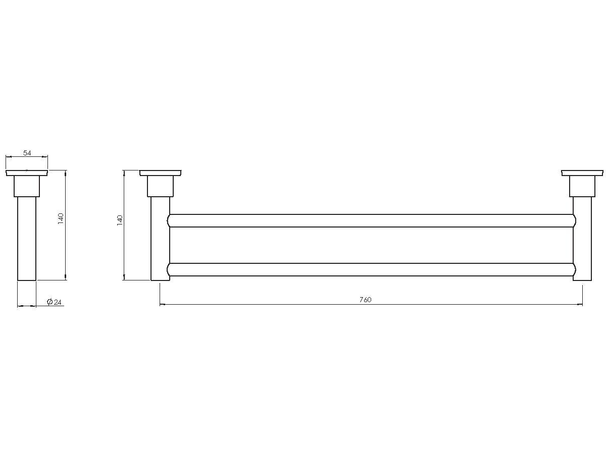 Phoenix Gen X Double Towel Rail 760mm Chrome