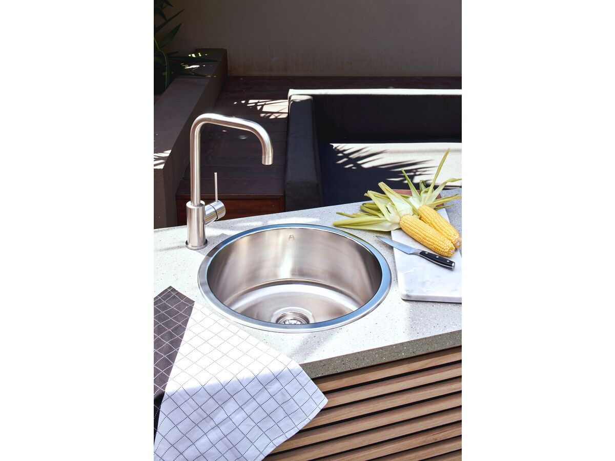 AFA Infinity Outdoor Undermount / Inset Round Sink No Taphole with Quick-Fit Clips 450mm Stainless Steel