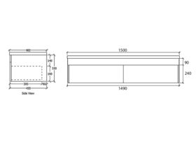 Acqua Wall Hung Vanity Unit 1500mm