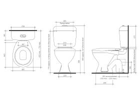 BASE Link Toilet Suite P Trap with Seat White (4 Star)