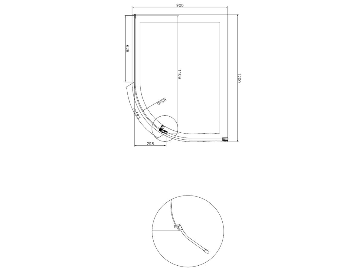 Kado Lux Walk In Curved Shower Screen 1200 Chrome