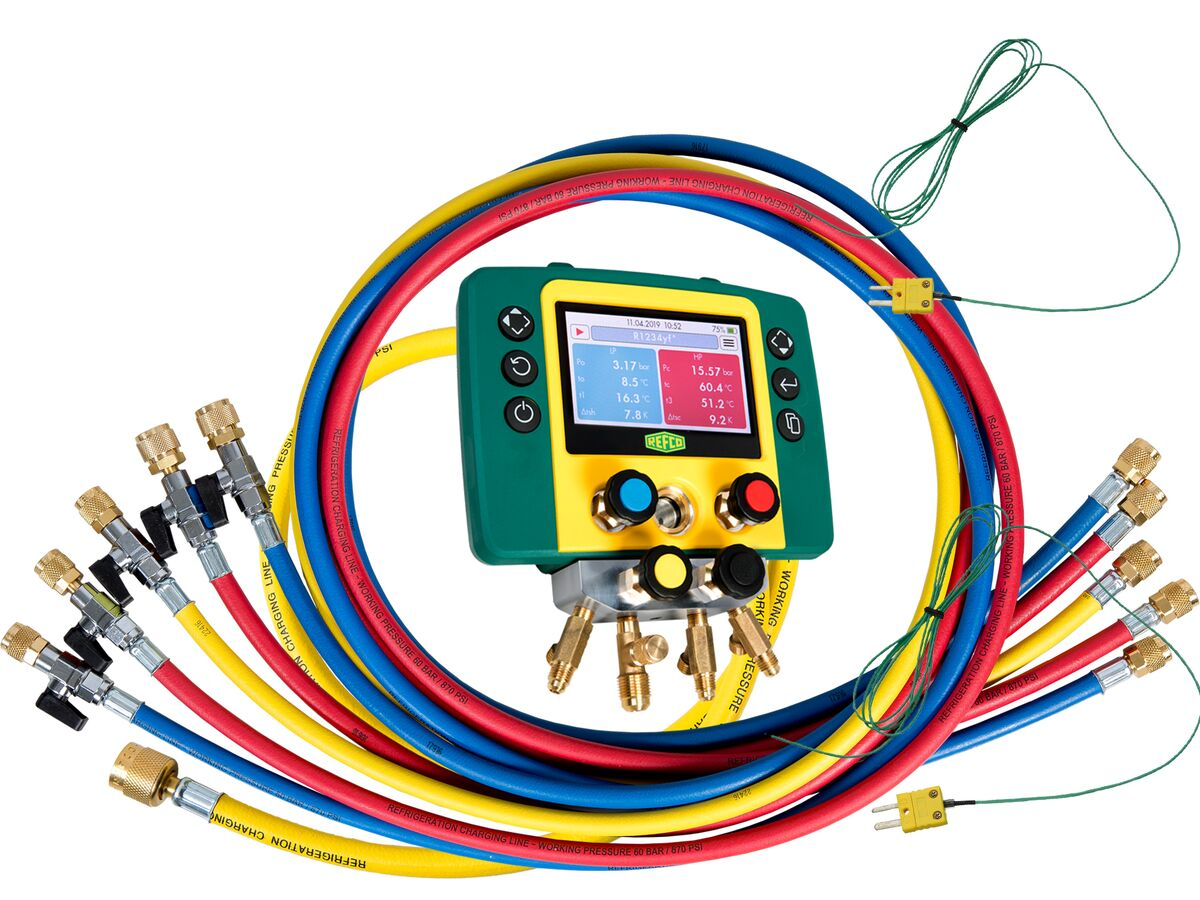 """Refmate 4 Digital Manifold With 2 Temperature Sensors & 5 x 60"""" Hoses With Ball Valves"""""""
