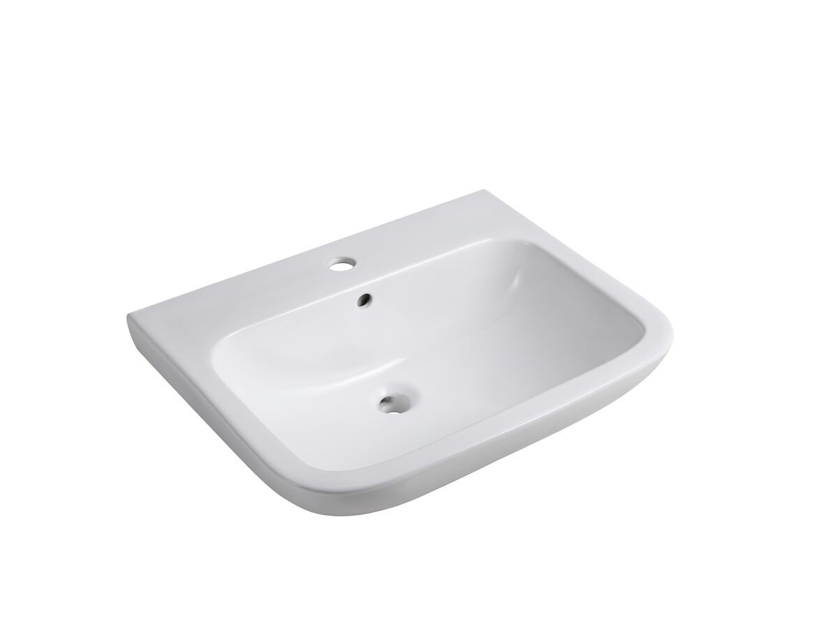 Wolfen Wall Basin Only 600 x 480mm with Overflow 1 Taphole White