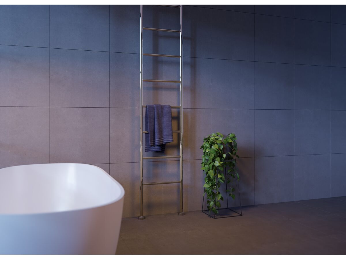 Kado Lussi Heated Towel Rail Floor to Ceiling (Hardwired Ceiling Cable Entry) 550mm Chrome