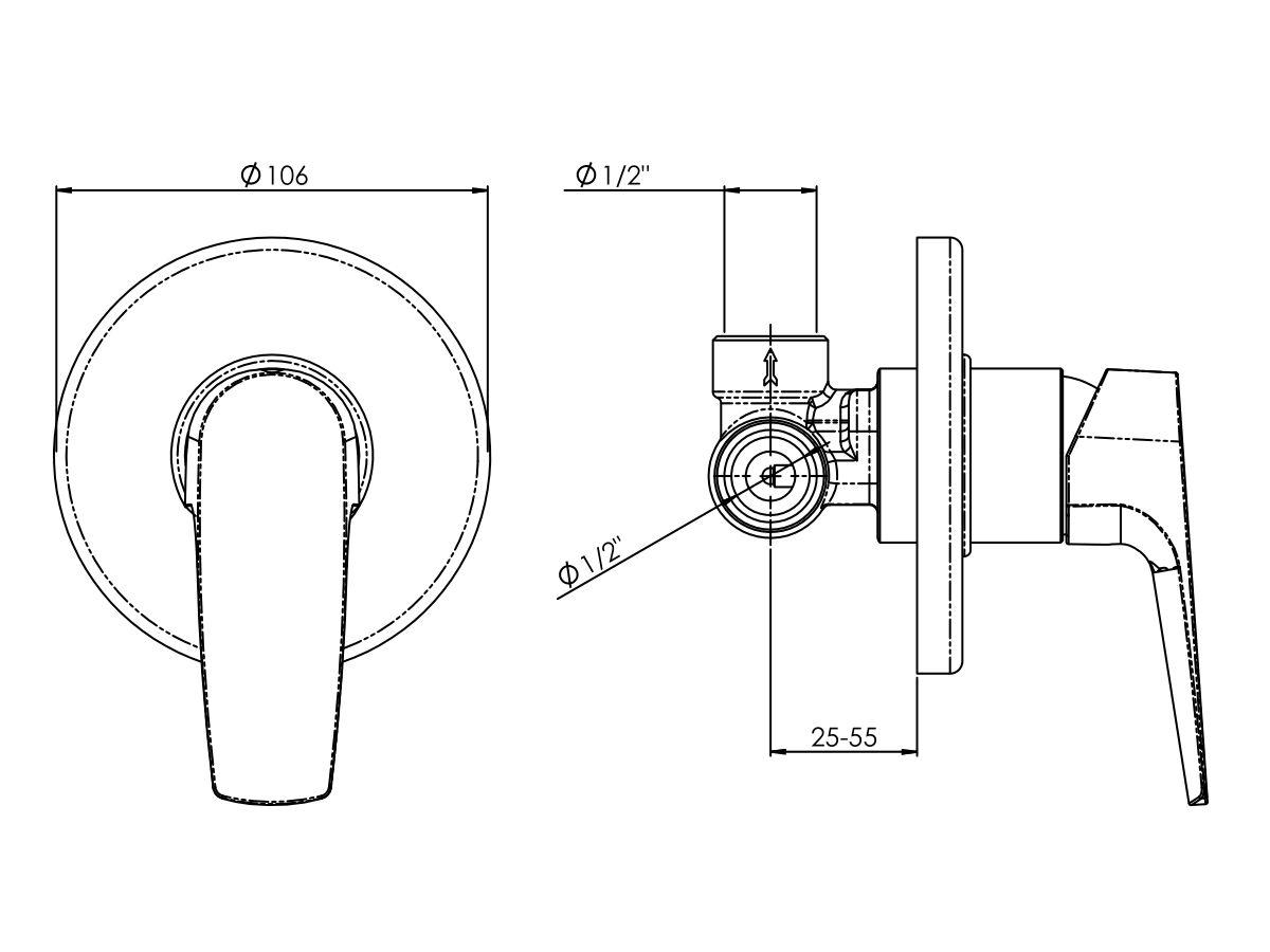 Line Drawing - Posh Solus MK2 Shower Bath Mixer Tap Chrome