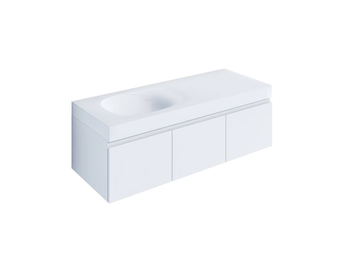 Kado Lussi 1200mm Wall Hung Vanity Unit with Three Soft Close Doors Satin White Painted Finish