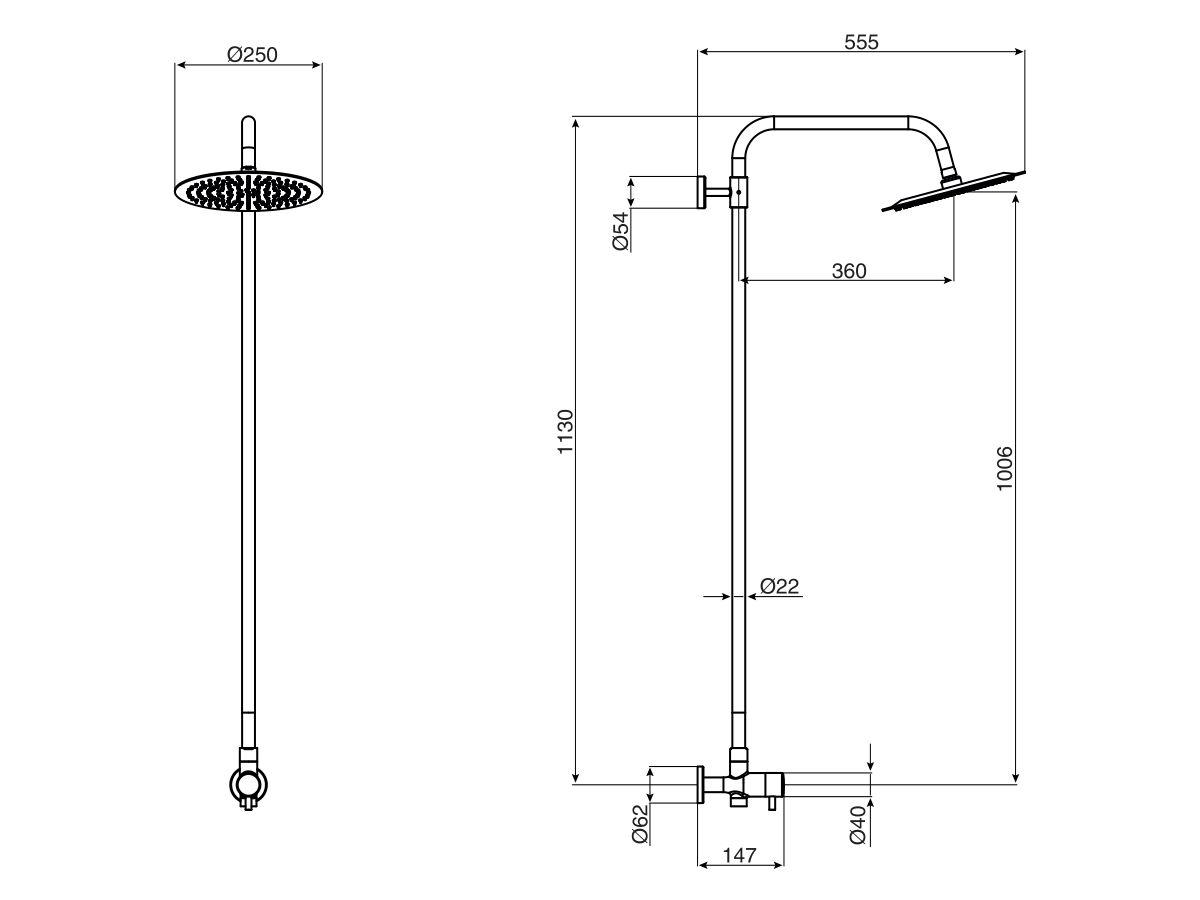 Milli Inox Overhead Rail Shower Stainless Steel (3 Star)