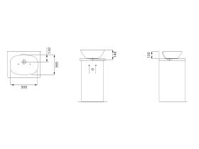 Laufen Ino Counter Basin with Overflow No Taphole 500mm White