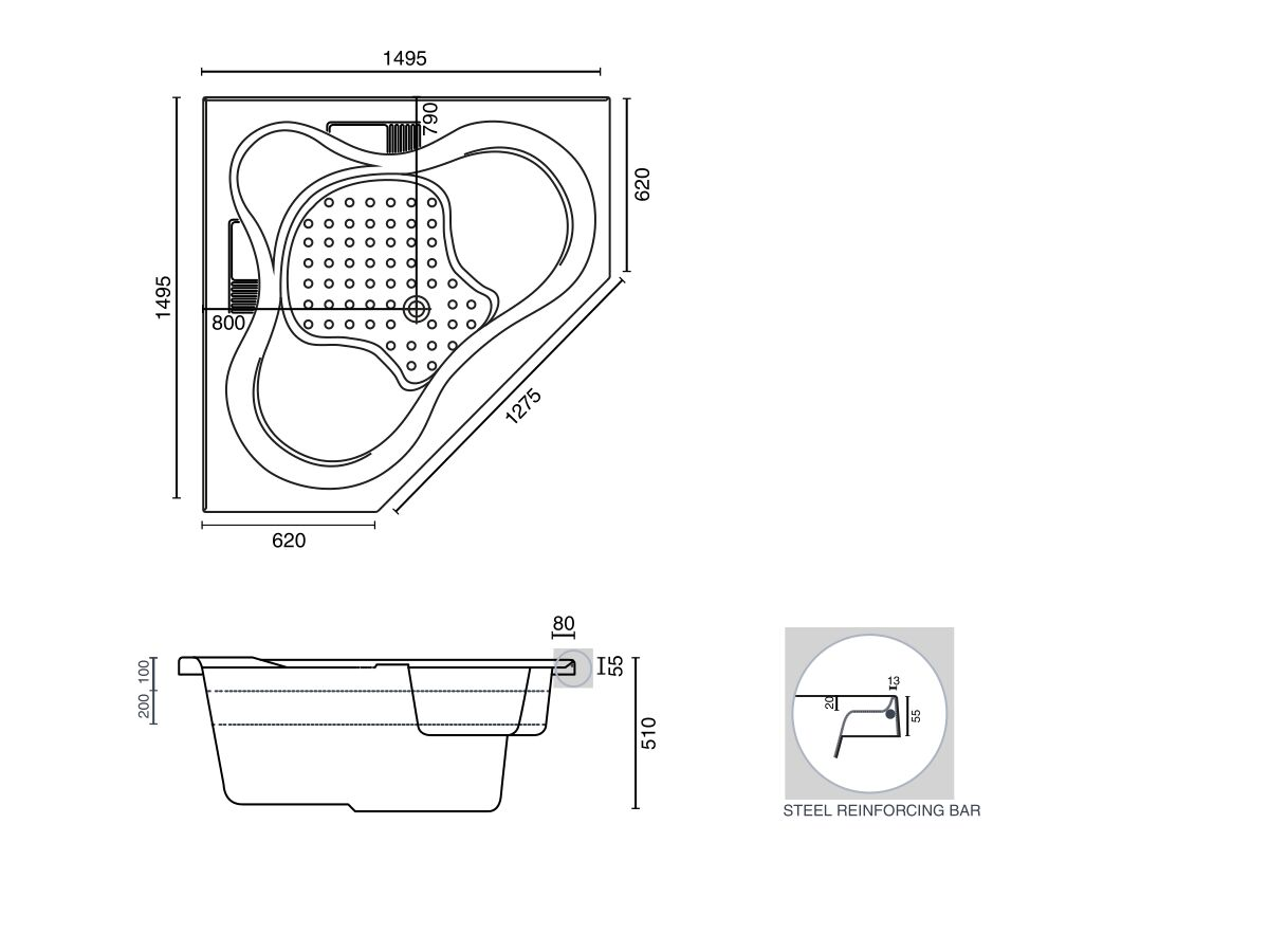 Posh Solus 1500 Corner Bath or Spa White Only