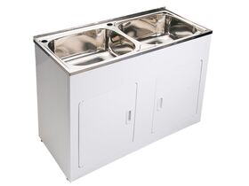 Base Double Laundry Trough & Cabinet 1 Taphole 45 Litres x 2 Stainless Steel/ White