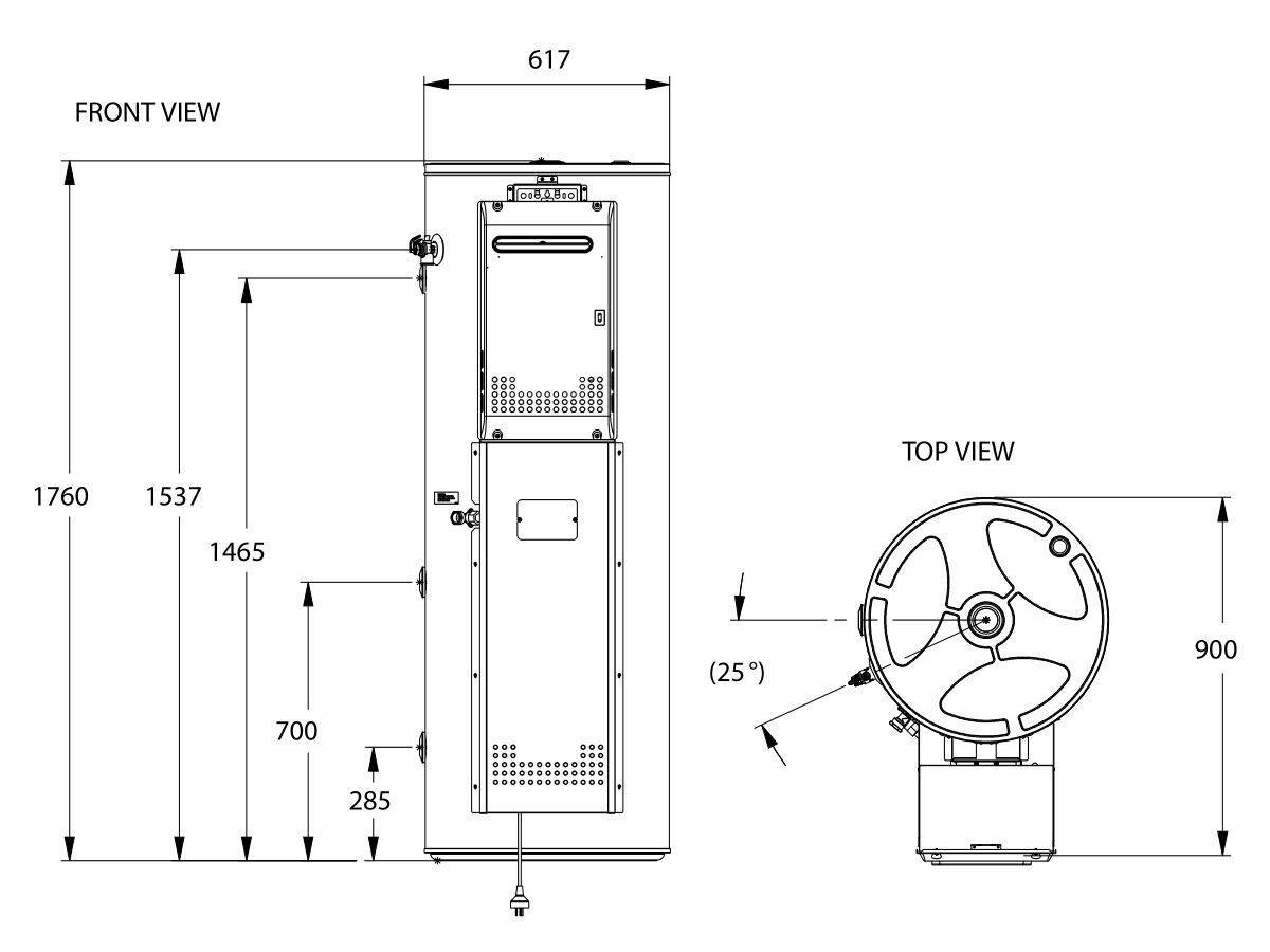 Thermann PP1150 Dimensions