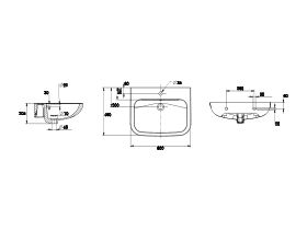 Wolfen Wall Basin with Overflow 1 Taphole 600 x 480