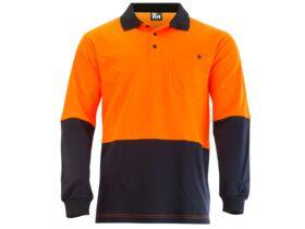 Mak Workwear LS Polo Orange/Navy S