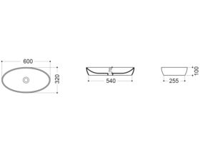 AXA H10 Oval Counter Basin 600 x 320mm White