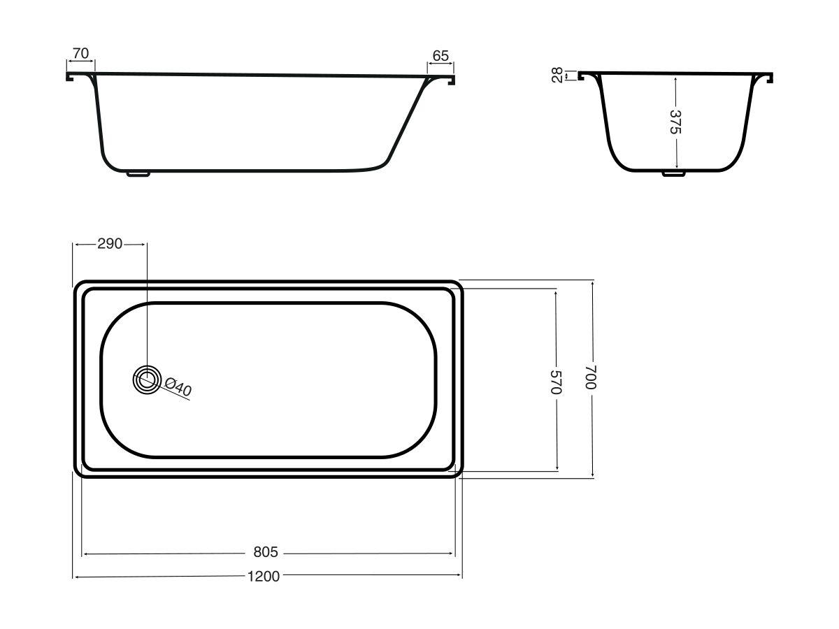 Base Pressed Steel Bath 1200 x 700mm White