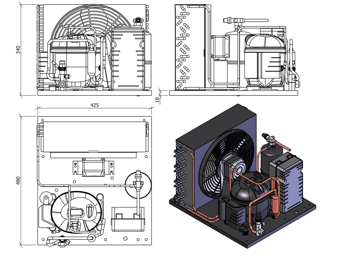 Tecumseh HTA Condensing Unit 5/8hp R404 LBP AET2425ZBR-FZ3C