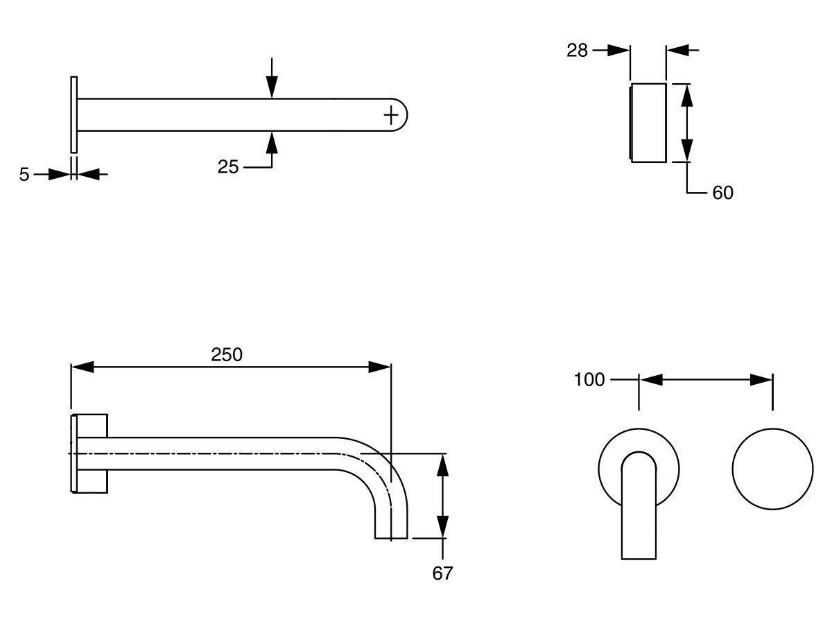 Milli Pure Progressive Wall Basin Mixer Tap System 250mm (3 Star)