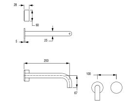 Milli Pure Progressive Wall Basin Mixer Tap System 250mm (3 Star)
