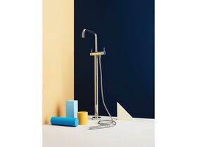 Scala Floor Mount Square Mixer Outlet with Handshower Chrome (3 Star)