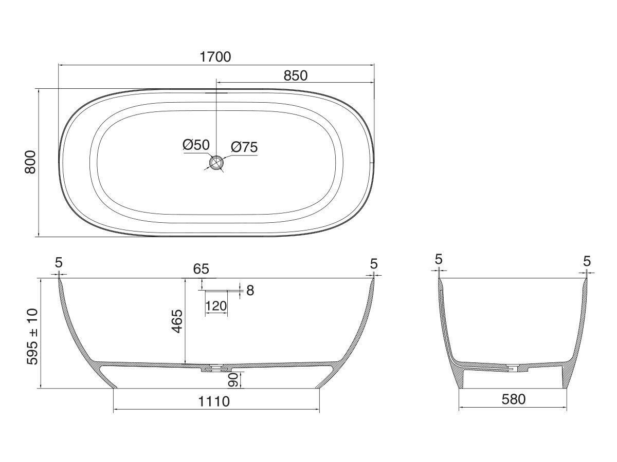 Kado Lussi Free Standing Bath Thin Edge 1700mm