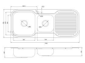 Base MK3 1 & 3/4 Bowl Sink 1 Taphole Left Hand Bowl 1200mm Stainless Steel