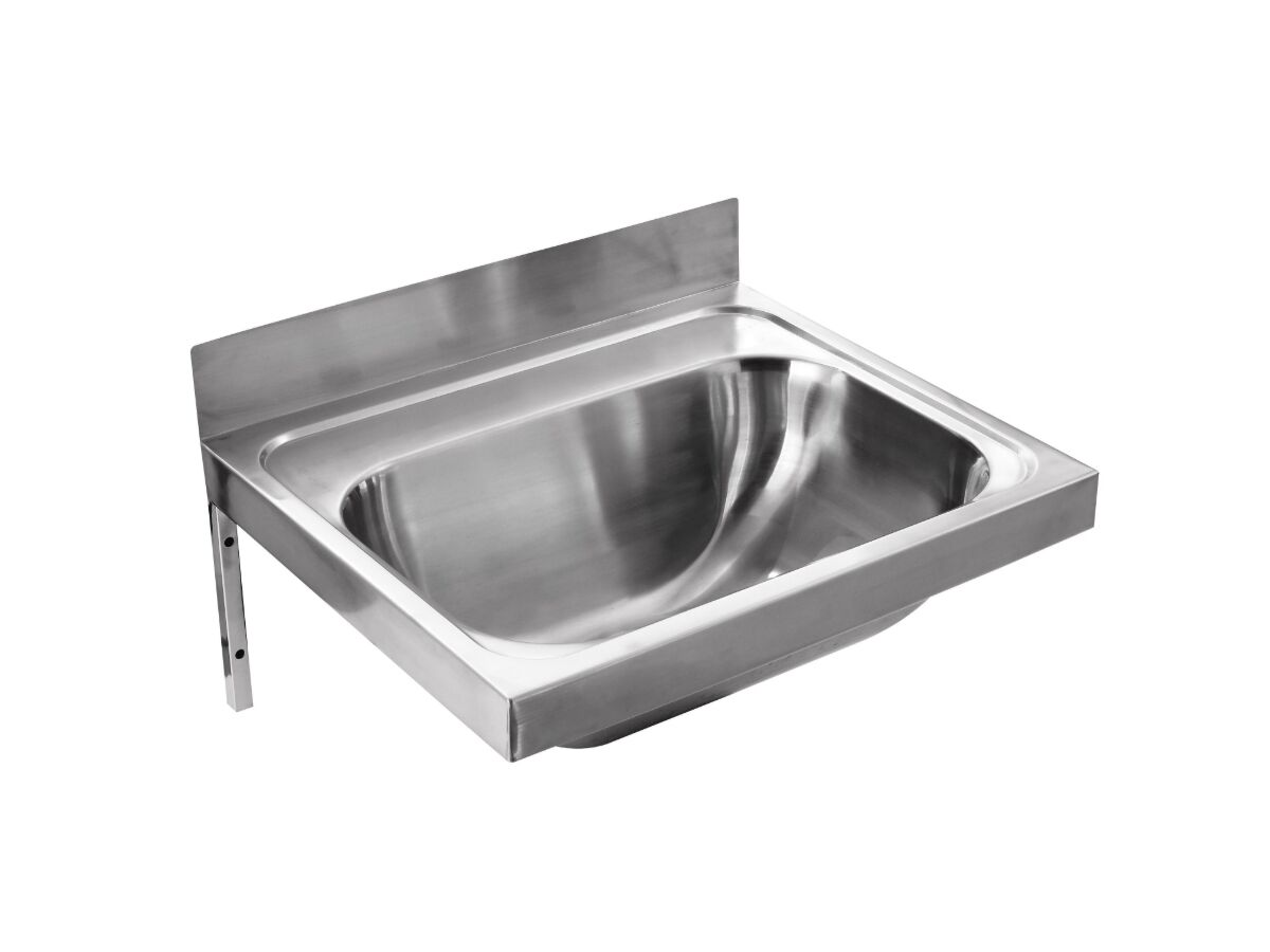 Wolfen Wall Hand Basin 500x420mm with Brackets No Taphole Stainless Steel