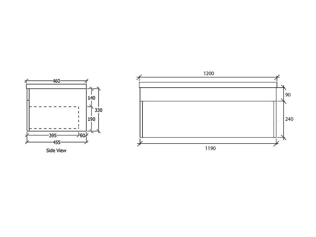 Acqua Wall Hung Vanity Unit 1200mm Tas Oak Timber Top