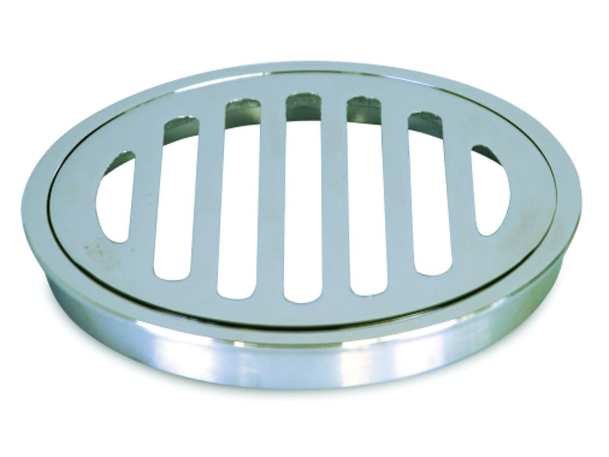 Stubby Floor Grate Brass Round Slotted Chrome 100mm