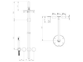 Milli Pure Progressive Shower Mixer Tap Column System with Hand Shower Right Hand 180mm