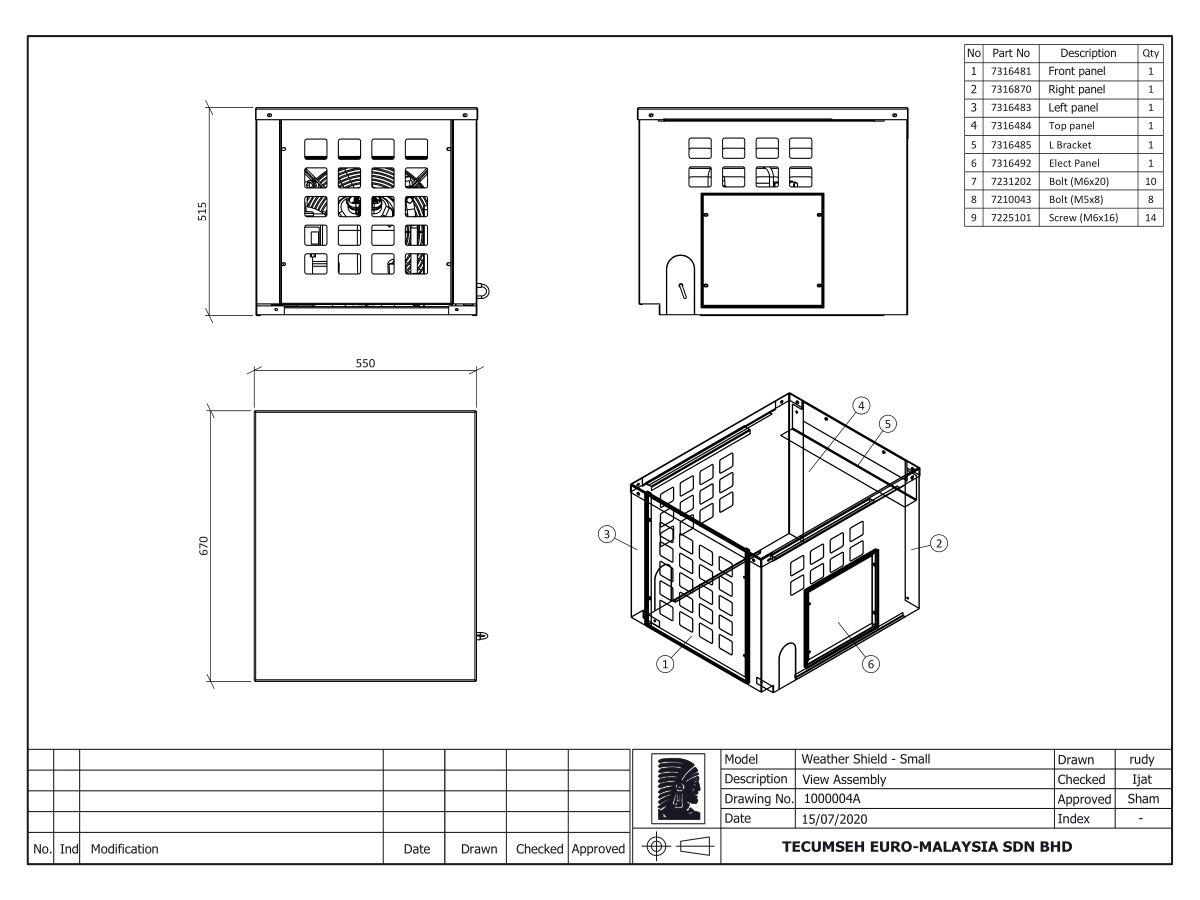 Tecumseh Small Condensing Unit Cover 1000004a