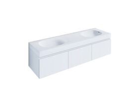 Kado Lussi 1500mm Wall Hung Vanity Unit Double Bowl with Three Soft Close Doors Satin White Painted Finish