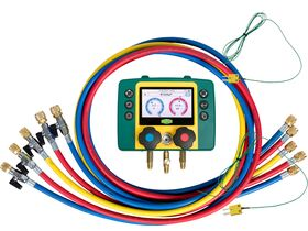 """Refmate 2 Digital Manifold With 2 Temperature Sensors & 5 x 60"""" Hoses With Ball Valves"""""""