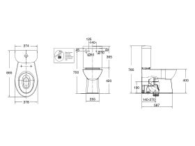 American Standard Studio Close Coupled Back to Wall Back Inlet Toilet Suite with Soft Close Quick Release White/ Chrome