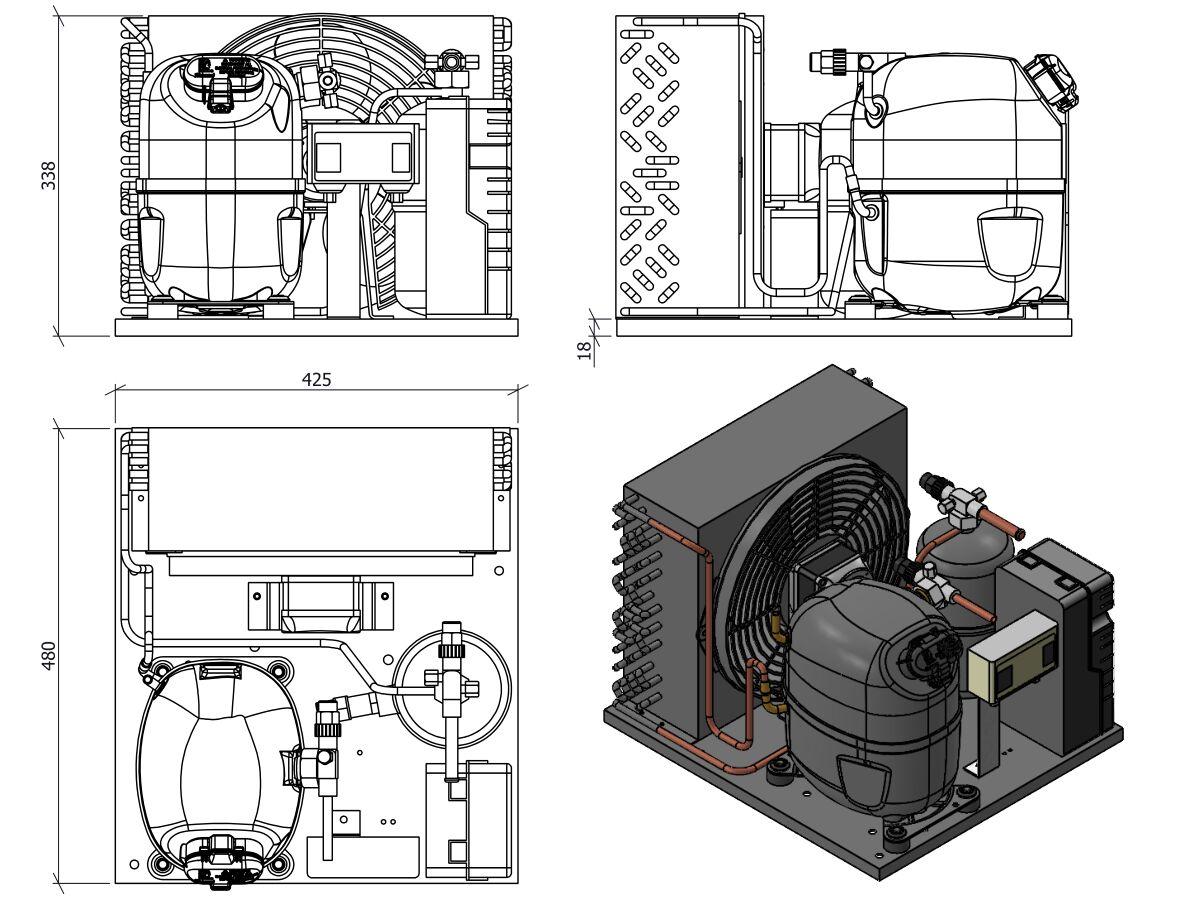 Tecumseh AJ2 HTA Condensing Unit 5/8HP R404 MHBP CAJT9480ZMHR-FZ-1 with Pressure Control