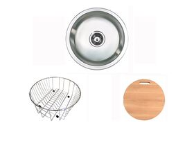 Posh Solus Round Inset / Undermount Sink Pack No Taphole 430mm Stainless Steel