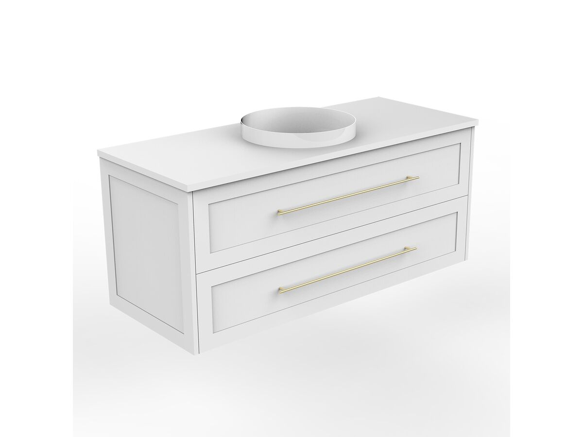 Kado Lux Wall Hung 1200mm 2 Drawer Single Centre Vanity (No Basin)