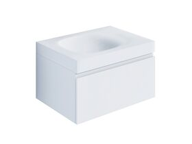 Kado Lussi 700mm Wall Hung Vanity Unit with One Soft Close Drawer Satin White Painted Finish
