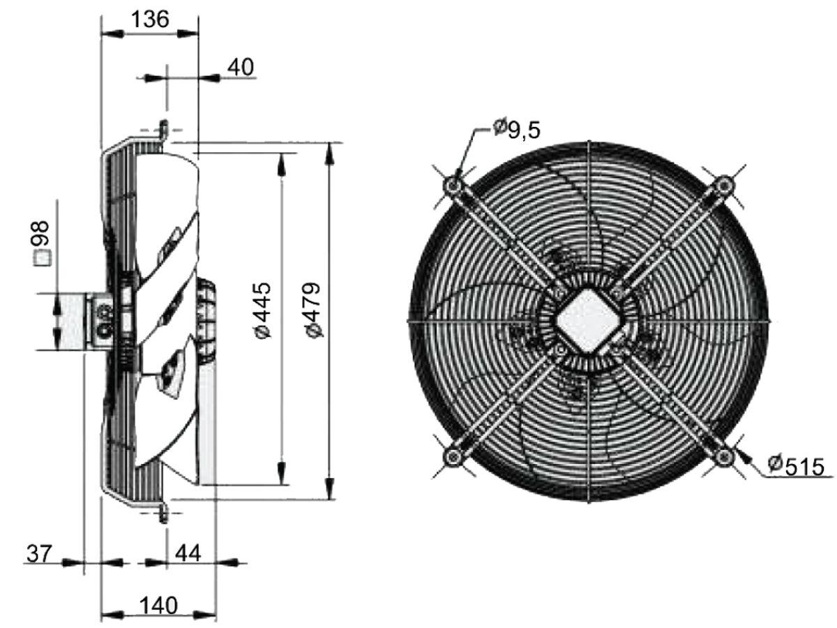 SolerPalau Fan 450mm 3Ph HRT/4-450/30BPN