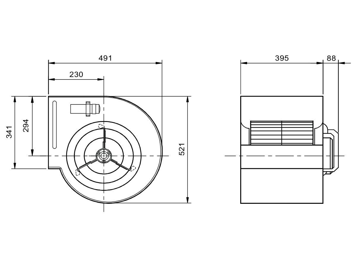 Technical Drawing - Kruger Centrifugal Fan KDD12/12 709W6P-1 3S
