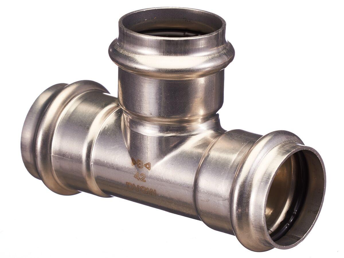 >B< Press Stainless Steel Equal Tee 42mm