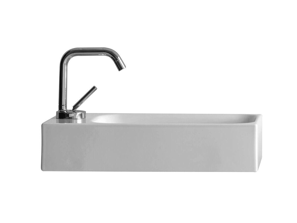 AXA Cento Mini Wall Basin Left Hand with Fixing 1 Taphole 450 x 250mm White