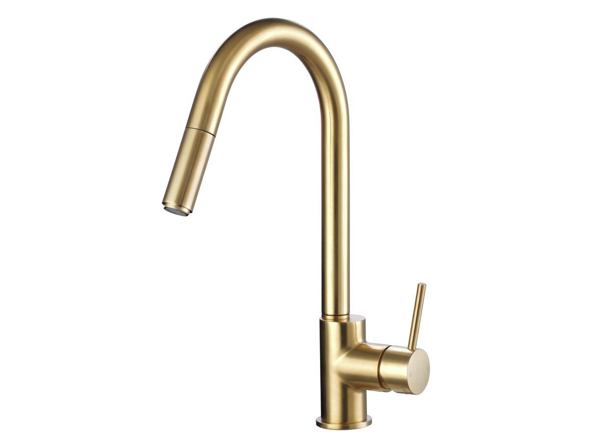 Mizu Drift MK2 Gooseneck Pull Out Sink Mixer Brushed Gold (4 Star)