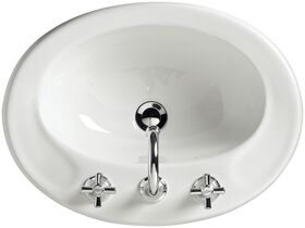 American Standard Heron Recessed Vanity Basin with Fixing Kit 3 Tapholes White
