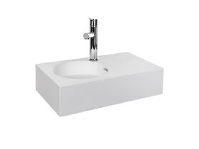 Neo Mini Solid Surface Wall Basin Left Hand Bowl 1 Taphole White